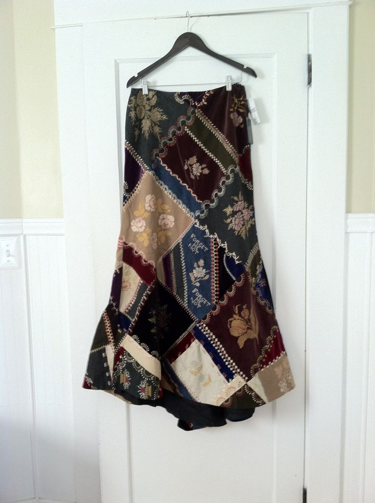 RALPH LAUREN PATCHWORK Skirt Ball Rare Crazy Quilt Vintage Blue Label Maxi 6 Train Velvet Wool Deer Floral Romantic Rare Mint Collector by STONEHEARTSVINTAGE on Etsy https://www.etsy.com/listing/217689728/ralph-lauren-patchwork-skirt-ball-rare