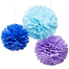 """From the Knot Wedding Shop: """"Add a vibrant pop of color with Paper Pom Poms. Hang above a dance floor for an inexpensive way to decorate your wedding!"""""""