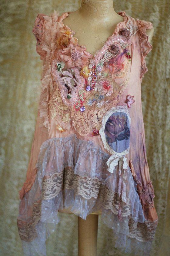 Purple rose  bohemian romantic layered look tunic by FleursBoheme