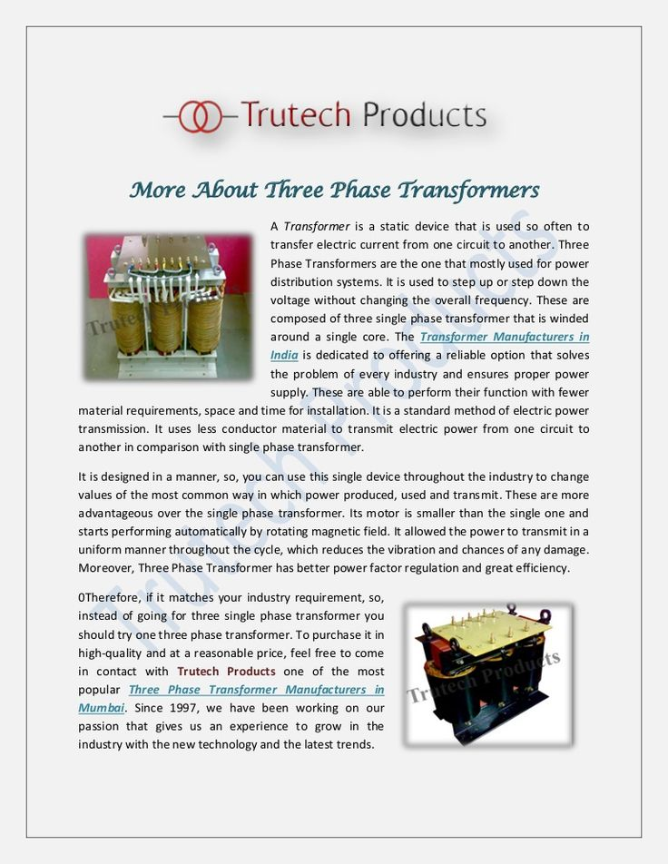 More About Three Phase Transformers