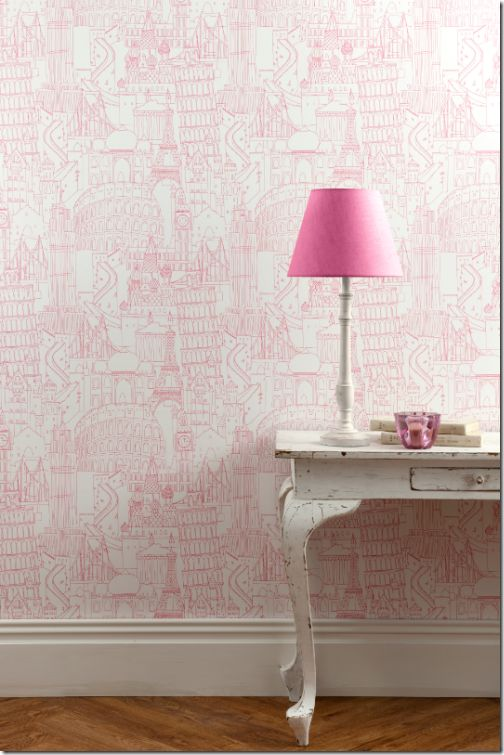 I heart wallpaper.  This would be darling for a little girl or in a girls bathroom.