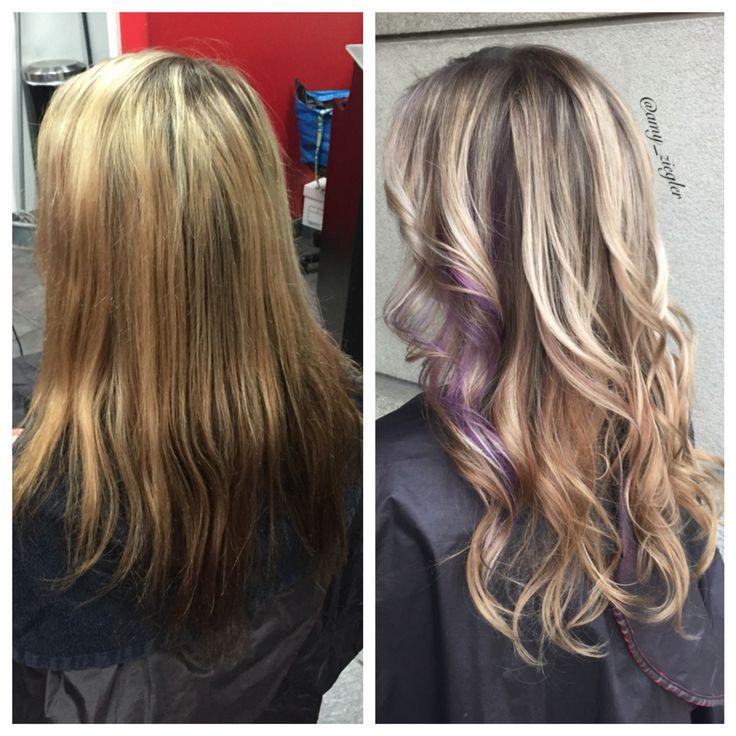 Before&After Blonde with Purple Peekaboo hair #versatilestrands @amy_ziegler
