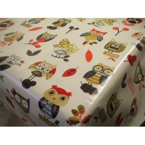 Ollie the Owl Red Cotton Oilcloth Tablecloth