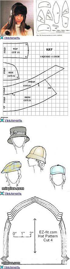 Шапки, шляпки, шляпы, кепки....с ВЫКРОЙКАМИ!!! Шьём САМИ!!!