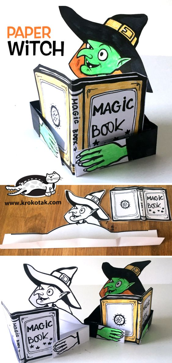 Paper witch printable Crafts for kids Pinterest Halloween