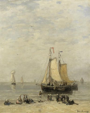 Hendrik Willem Mesdag (Dutch, 1831-1915) Unloading the catch, Scheveningen