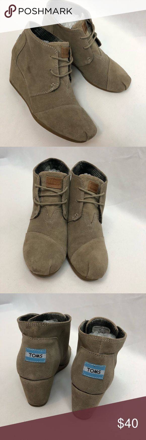 TOMS Wedge Boots TOMS wedge boots. Size W8. Excellent used condition. Some minor spots here and there. Nothing major and I haven't tried to clean. Toms Shoes Ankle Boots & Booties