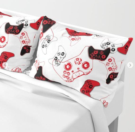 Red White Gamer Pillow Sham Set (2pcs) Video Game Pillow Case, Gamer Bedding, Gamer Pillow Cover, Gaming Pillow, Gamer Gifts,Red Gaming Room