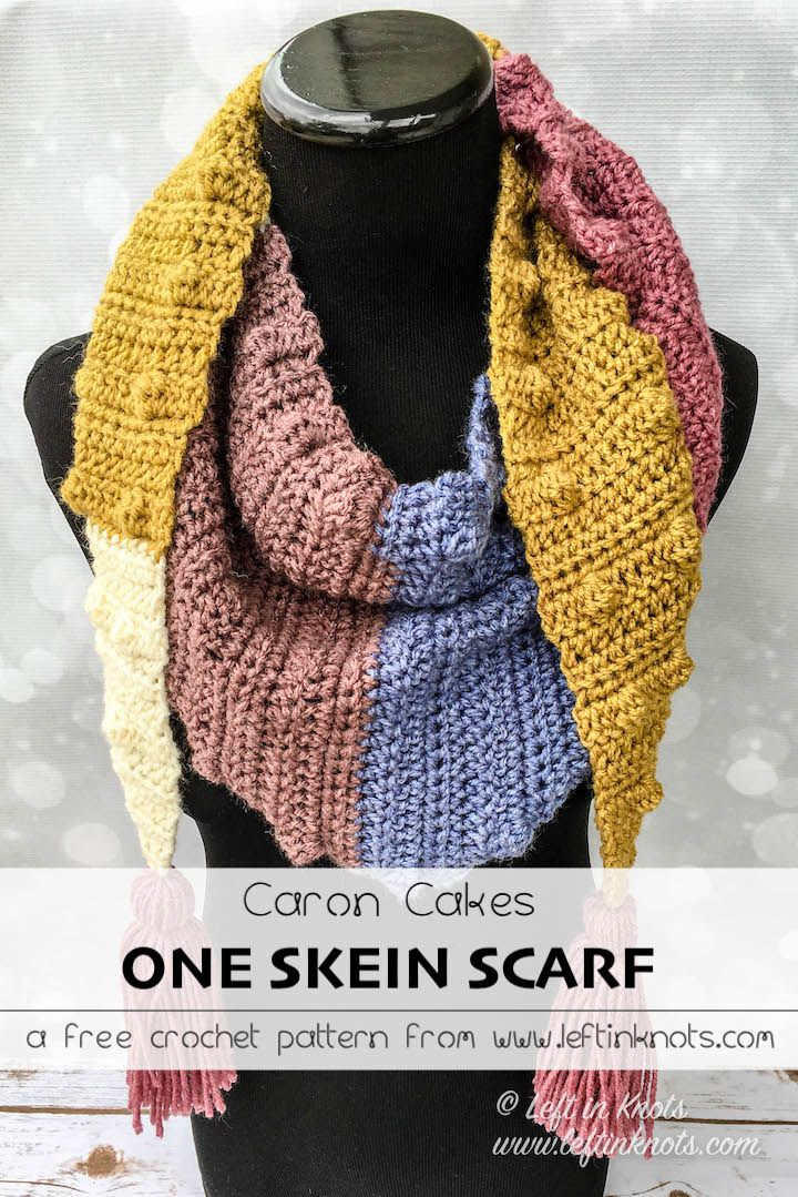 d07eb4aa0f1a9 Use this free crochet pattern and just one skein of Caron Cakes yarn to  make this modern triangle scarf with tassels. The Silhouette Mod Scarf is  an easy ...