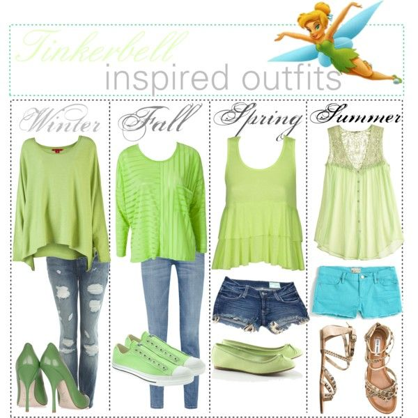 Tinkerbell inspired outfits :3, created by shannonstyles on Polyvore