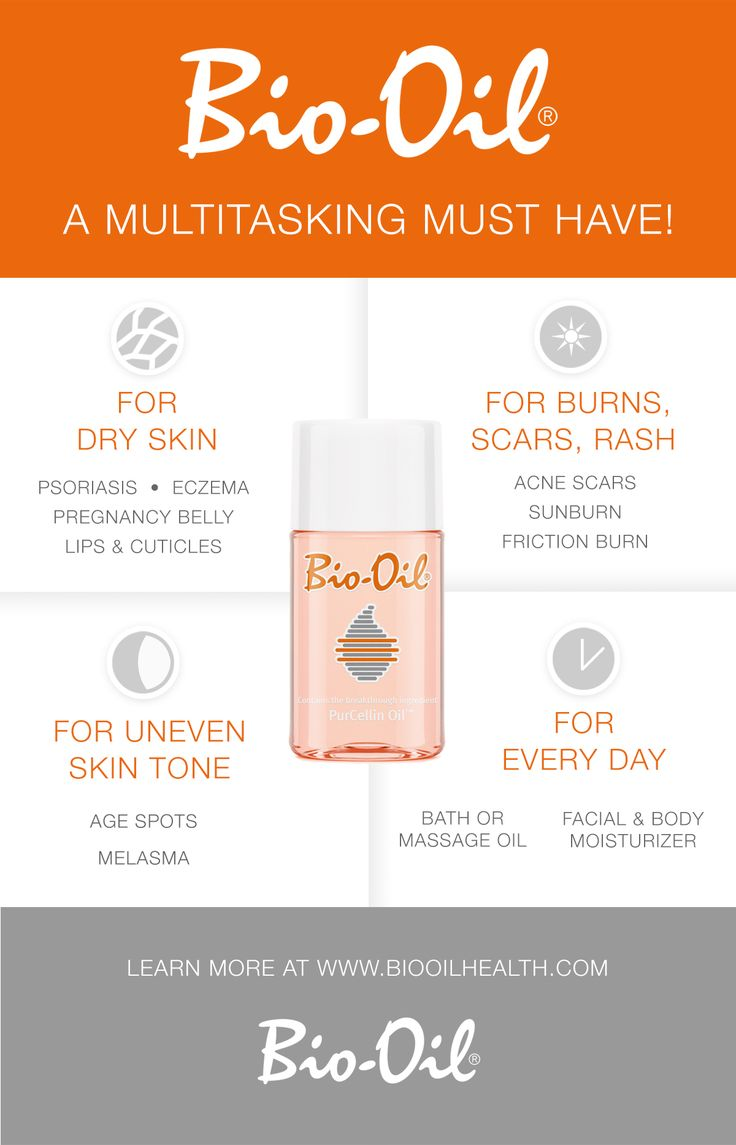 Bio-Oil is a multitasking must have!  Find out how Bio-Oil can improve the appearance of dry skin, scars, stretch marks, and uneven skin tone here! → biooilhealth.com