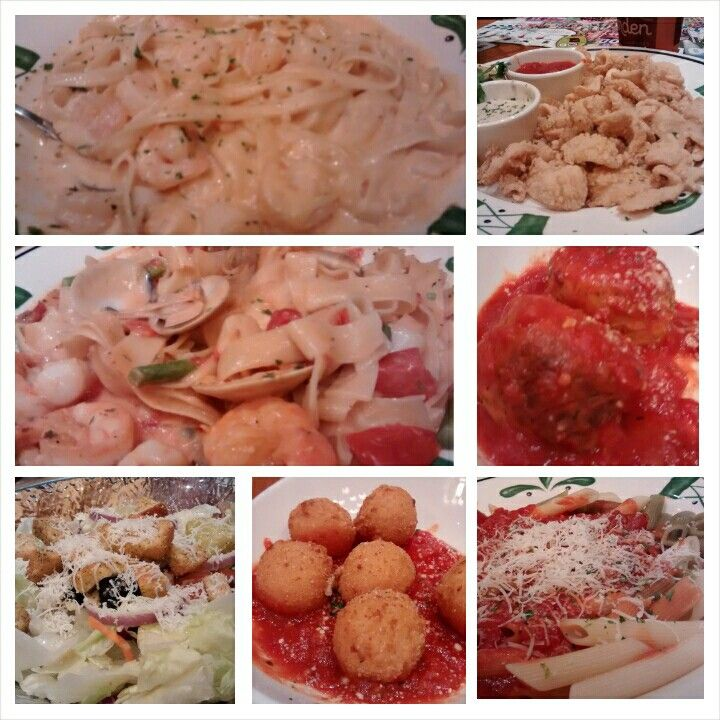 Seafood alfredo, seafood chefs specialty, calamari, rice balls app, chiclen meatball app, salad, n penne at Olive Garden Austin TX