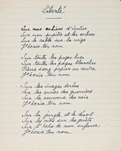 Liberté, Paul Eluard