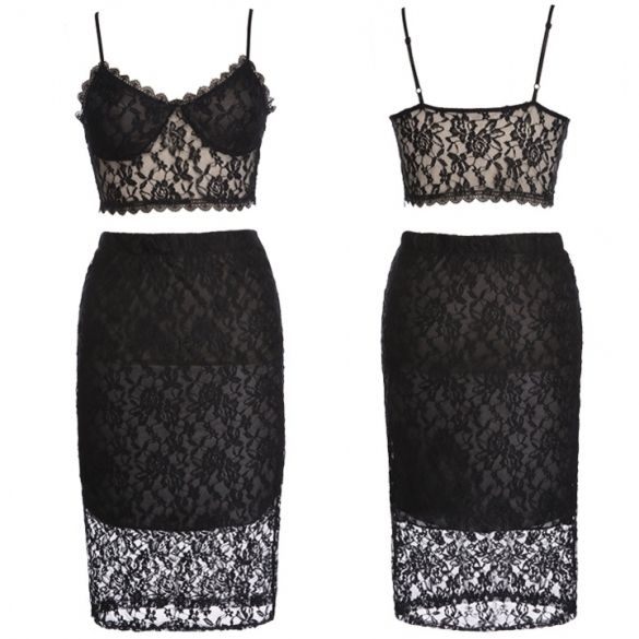 2015 Wholesale New Women Two-Pieces Stylish Sleeveless Sexy Lace Bralet Bustier Crop Tops + Party Pencil Skirt Set