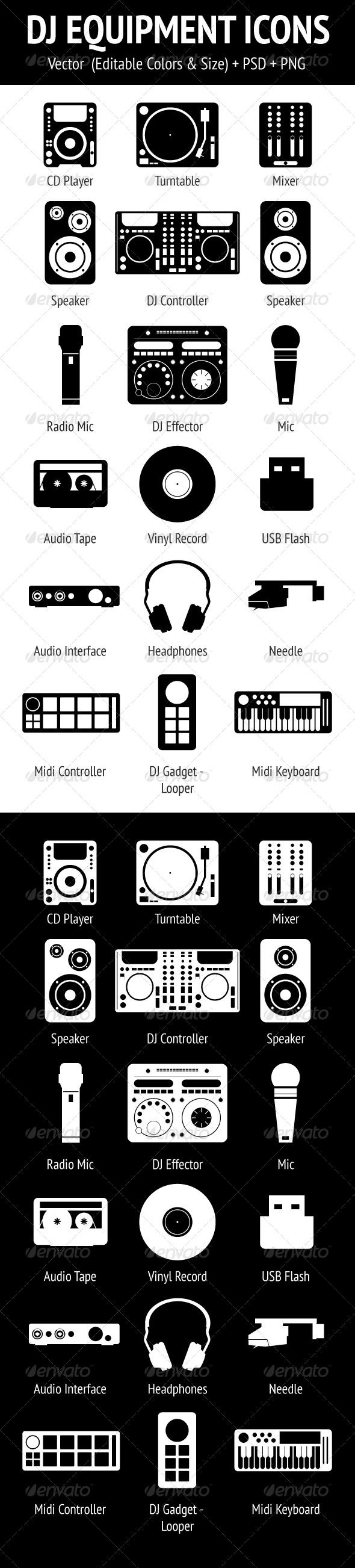 DJ Equipment Icons Set #GraphicRiver A set of 18 dj equipment & tools icons. It's vector and changeable.This pack includes: 2-way Speaker 3-way Speaker Audio Interface Audio Tape CD Player Controller Effector Gadget Headphones Mic Midi Controller Midi Keyboard Mixer Needle Radio Mic Turntable USB Flash Vinyl Record Files: EPS (10) AI (CS3) PSD (CS3) Transparent PNG (512×512) Don't forget rate this item if you like! Follow me on GraphicRiver to get my latest designs. Thank you! You might also…