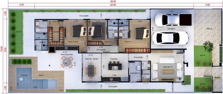 Plano de casa con 3 suites. Plano para terreno 12x30