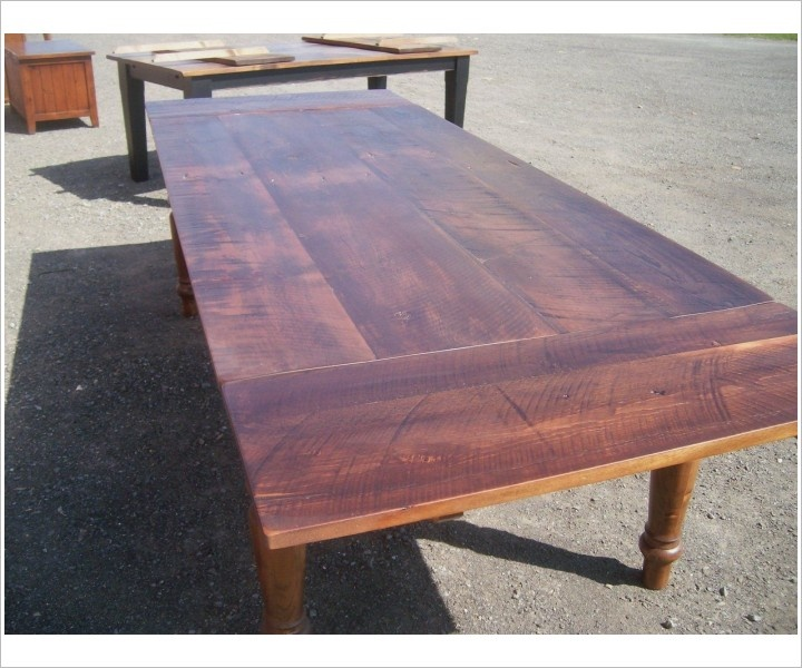 Seven Foot Reclaimed Wood Harvest Table With Leaves   Glengarry Harvest    Farm Tables   Johnsons