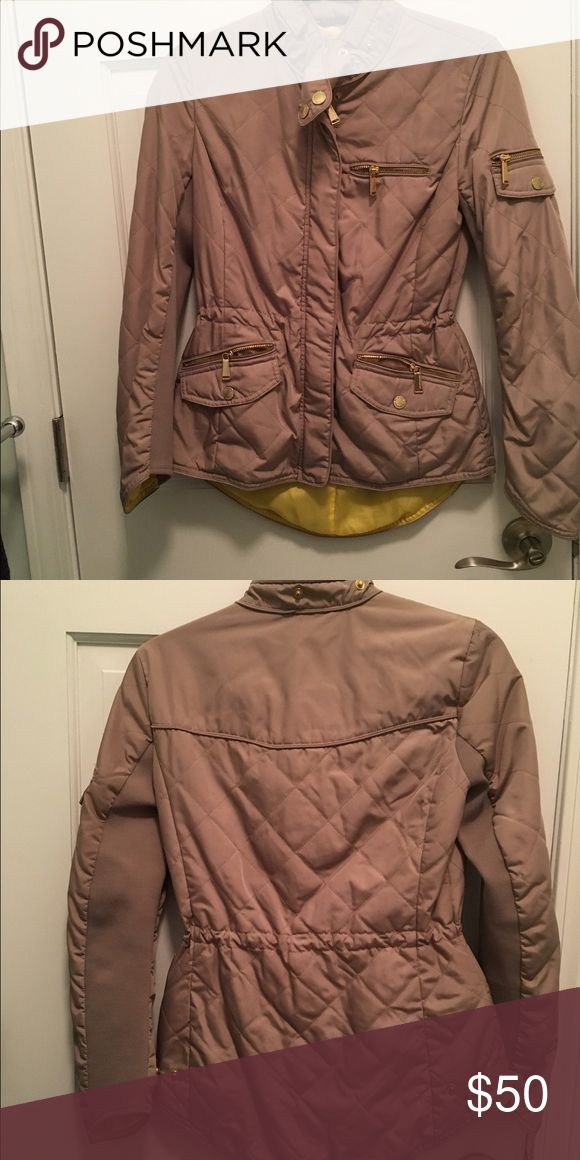 BCBGeneration Jacket Cute fall jacket. You can easily cinch the waist for a more flattering fit. Comes with a detachable hood. BCBGeneration Jackets & Coats