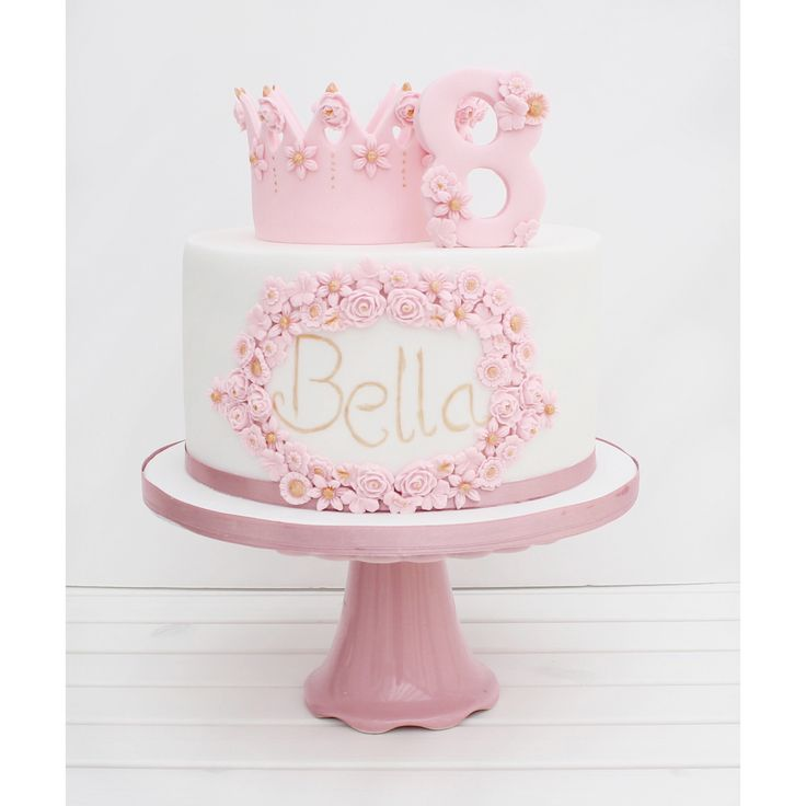 Cherry Crumbs Princess Flower and Crown Birthday Cake // Pink Cake // White Cake // Flowers // Birthday // Princess Cake // Crown Cake // Bella