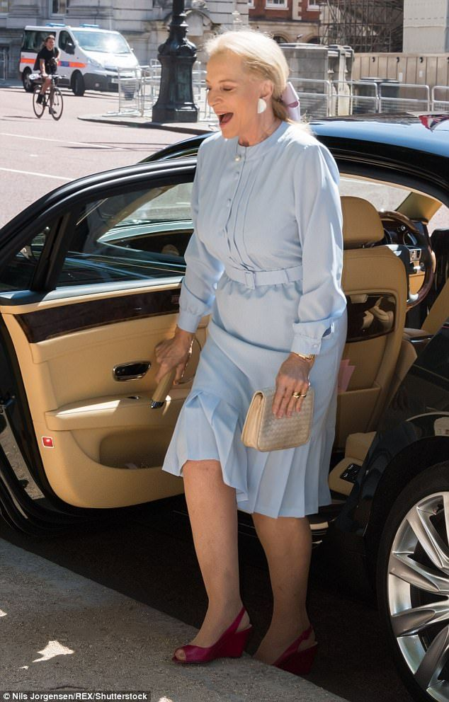 Guest of honour:The glamorous 6ft royal looked to be in good spirits as she arrived at Th...