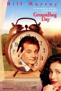 Groundhog Day is a romantic comedy starring Bill Murray as weatherman Phil who falls for fellow collegue, Rita (played by Andie MacDowell)
