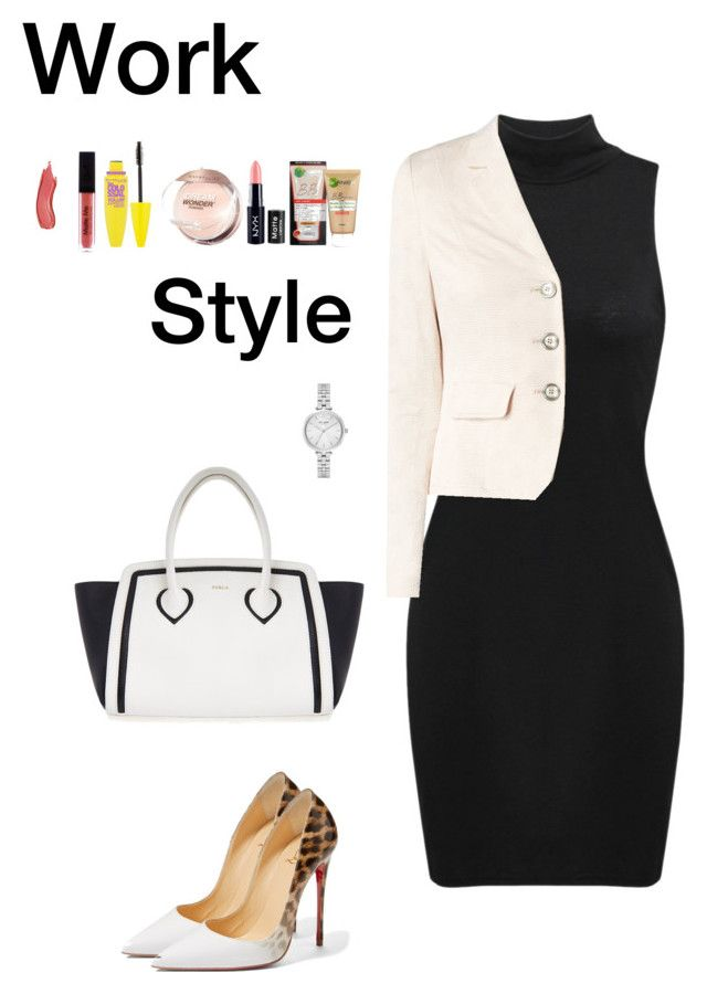 """Work Style (4)"" by irisazlou on Polyvore featuring mode, Taifun, Christian Louboutin, Furla, Kate Spade, Garnier, NYX et Maybelline"