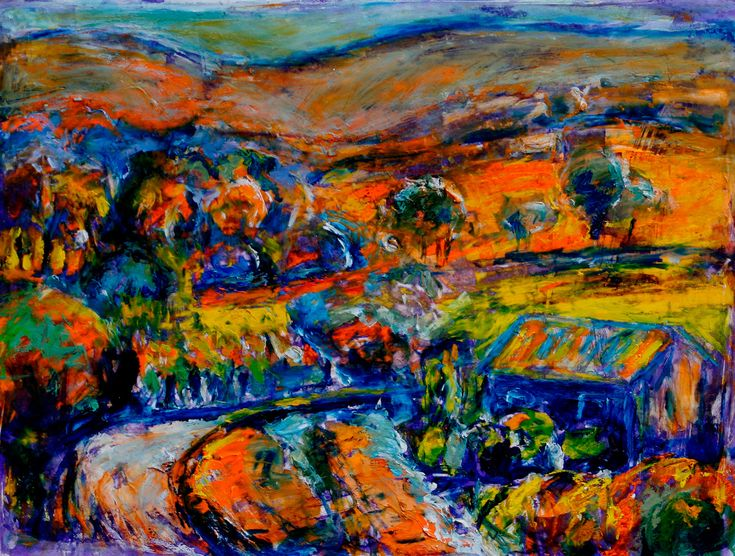 SOLD 'Valley Song' The Swan Valley, Perth, Western Australia where the Avon River winds it's way through vineyards and horse properties.  In glorious colour. #JeremyHolton #Perth #Australia #Painting #Art