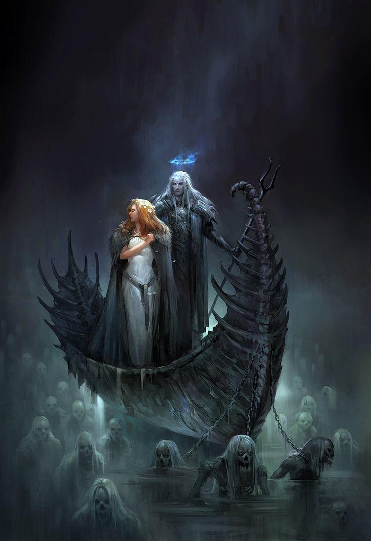 Hades y Persefone en la barca de Caronte