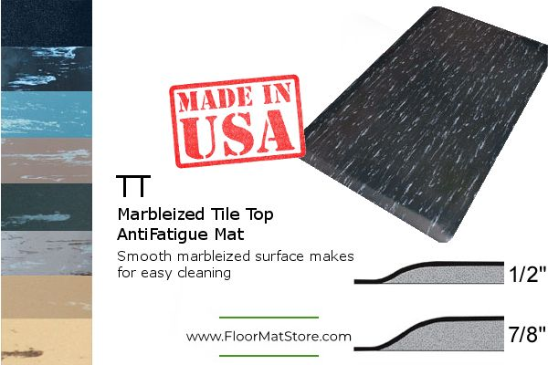 Smooth Marbleized Rubber Top Surface Is Very Long Lasting And Easy To Clean 1 2 Or 7 8 Inch Anti Fatigue M Anti Fatigue Floor Mats Marbleized Anti Fatigue Mat