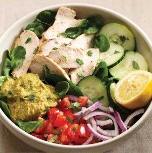 Panera's Power Menu is amazing. At 330 filling calories, you can't beat the Power Chicken Hummus Bowl.