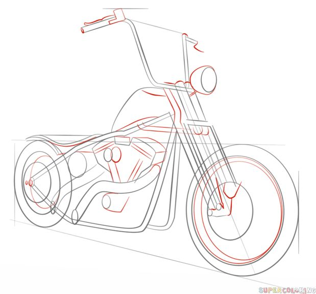 How to draw a chopper bike | Step by step Drawing tutorials