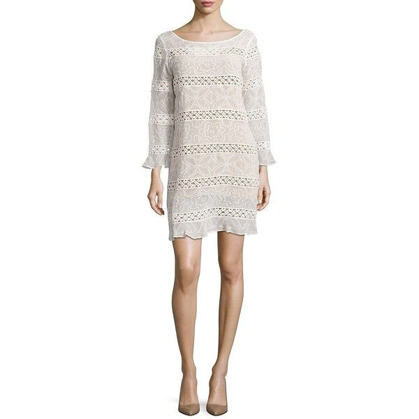 Tracy Reese Crochet-Accented Shift Dress ($398) ❤ liked on Polyvore featuring dresses, soft white, floral dresses, white flare dress, 3/4 sleeve dresses, white crochet dress and tracy reese dress