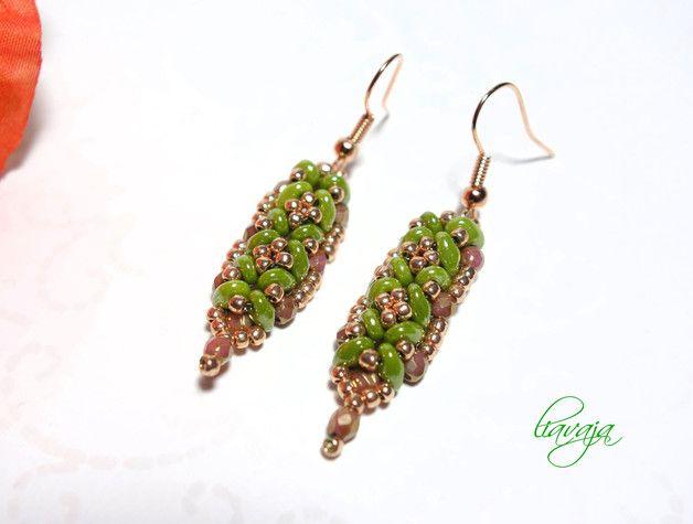 Glasohrringe - Ohrhänger grün Ohrringe - ein Designerstück von liavaja bei DaWanda