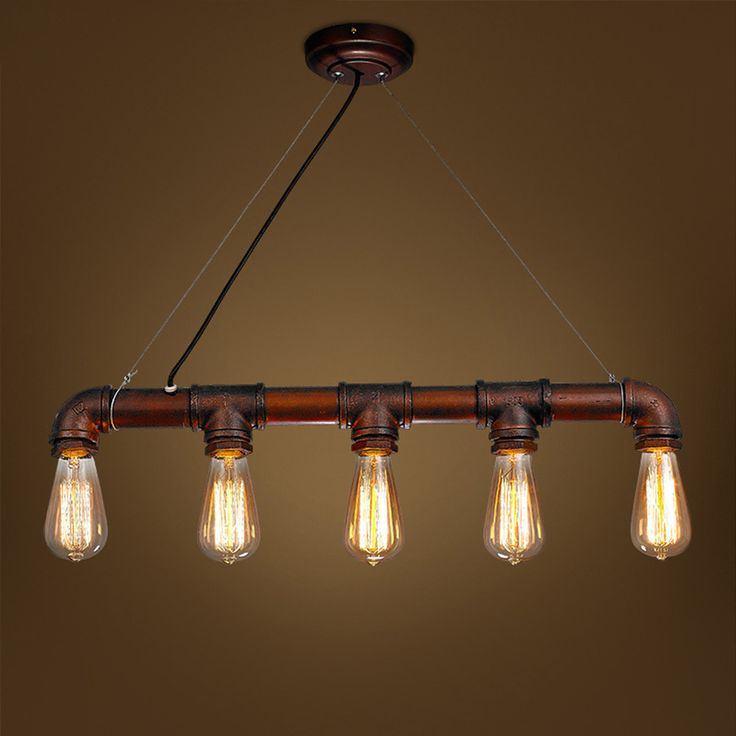 Industrial Iron Water Pipe Novelty Antique Color American Country Loft Pendant Lamp 5 Heads Use E27 Edison Bulb Hanging Light