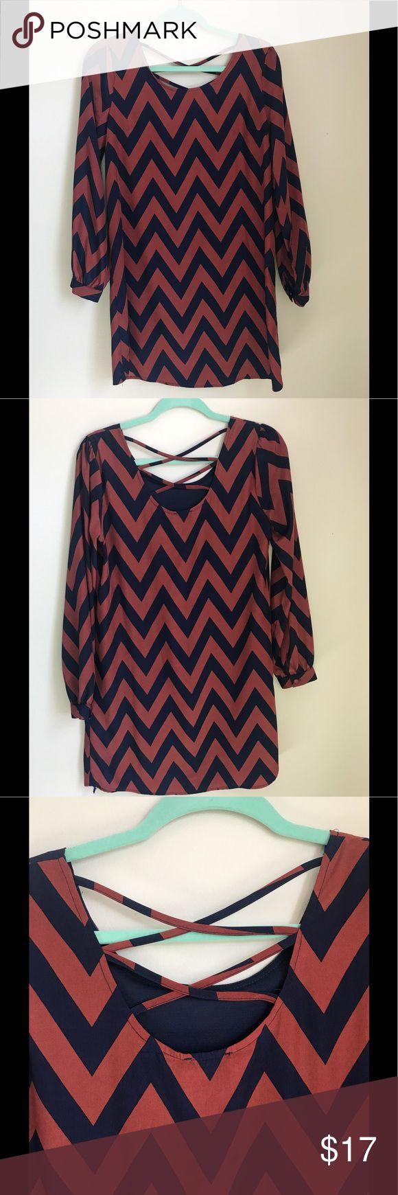 Blue and orange chevron dress Chevron patterned long sleeved dress. Charming Charlie Dresses Long Sleeve