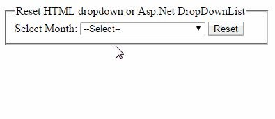 Multiple ways to reset Asp.Net DropDownList or HTML dropdown using jquery http://www.webcodeexpert.com/2014/12/how-to-reset-aspnet-dropdownlist-or.html