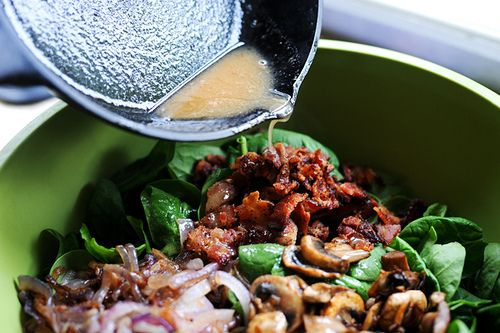Pioneer woman spinach salad: 3 whole Eggs 7 slices Thick Cut, Peppered Bacon 1 whole Red Onion, Small 1 package Mushrooms, White Button 8 ounces, weight Baby Spinach, Washed Dried And Stems Removed 3 Tablespoons Reserved Bacon Grease 3 Tablespoons Red Wine Vinegar 2 teaspoons Sugar 1/2 teaspoon Dijon Mustard 1 dash Salt