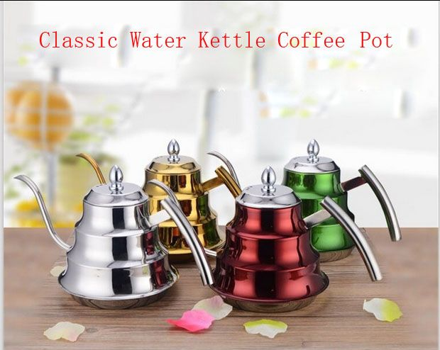 Colorful Classic Stainless Steel Coffee Pot With Filter Water Kettle Long Mouth Design Induction Use Tea Pot Free Shipping
