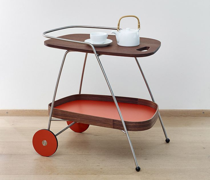 Walnut and laminate serving trolley from Denmark