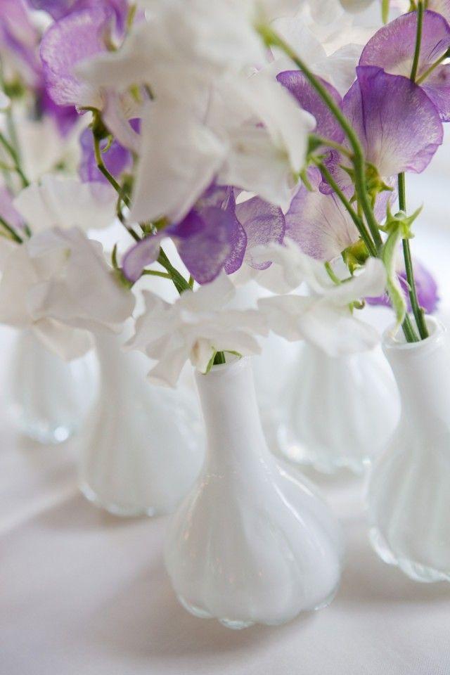 witte en paarse Lathyrussen in witte vaasjes