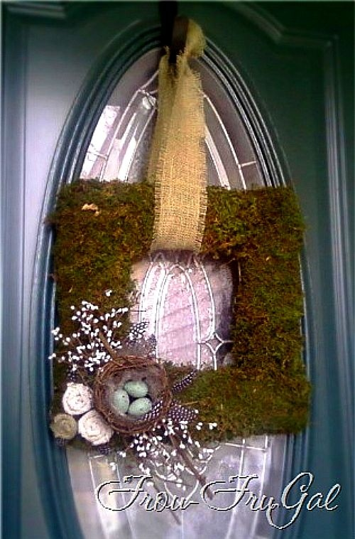 square wreath loveHeart Wreaths, Birds Nests, Spring Decor, Moss Wreaths, Front Doors, Wreaths Ideas, Spring Wreaths, Doors Colors, Squares Wreaths