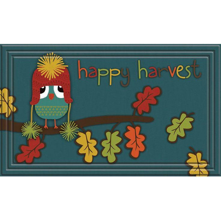 Fashionables Happy Harvest Owl Teal Door Mat