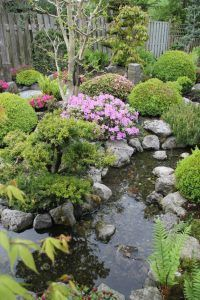 beautiful design of japanese garden with flowers