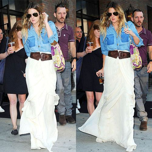 white maxi skirt and denim shirt on Drew Barrymore