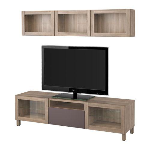 BESTÅ TV storage combination/glass doors - walnut effect light gray/Valviken…