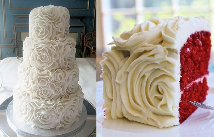Red velvet wedding cake with rose frosting - a little too frou frou, but could be cool if it was toned down.