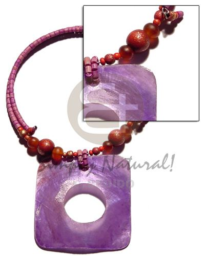 Lavender 45mmx45mm Rectangular Hammershell In Choker Wire Lavender 2-3mm Coco Heishe  Horn And Wood Bead Accent Seashell Necklaces