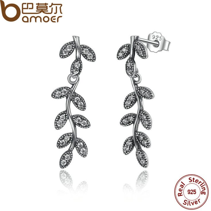 BAMOER 925 Sterling Silver Sparkling Leaves & Branches Drop Earrings Clear CZ Women  for Women Engagement Jewelry PAS466