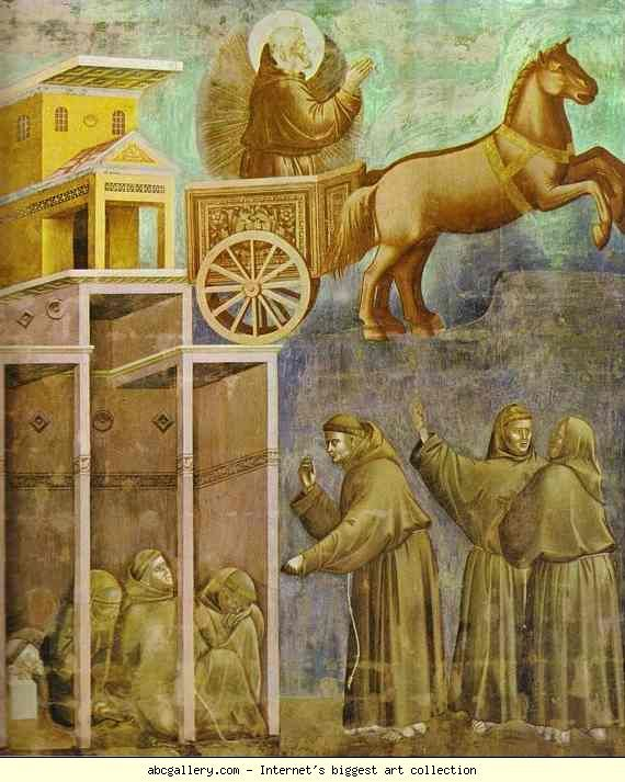 Giotto. The Vision of the Chariot of Fire. 1295-1300. Fresco. St. Francis, Upper Church, Assisi, Italy.