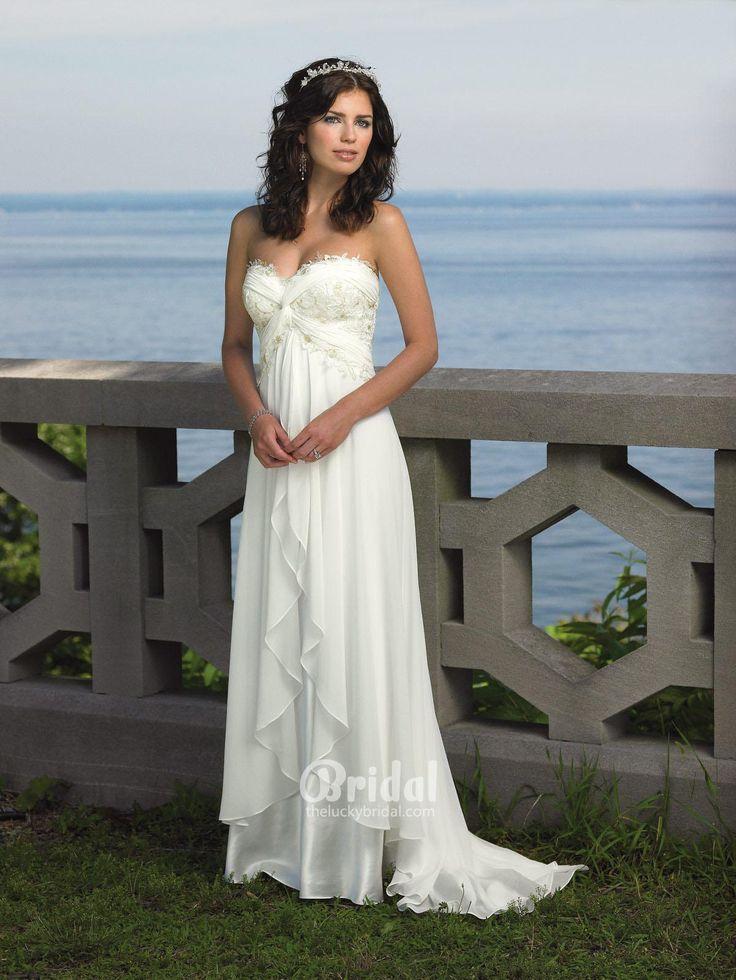 Empire Waist Ivory Chiffon Beach Wedding Dress Lace Strapless Sweetheart Neckline